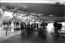 View of aircraft in airport.