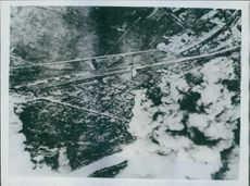 Struck by carrier-based planes of the Third fleet, building in Kushiro, on Nokkaido consumed by planes. 1945