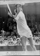 Tennis player Chris Lewis in action in Eastbourne
