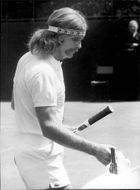 Ray Moore during the match against Allan Stone in Wimbledon in 1971