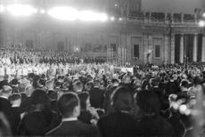 Pope Paul VI in the middle of the crowd during a religious ceremony.