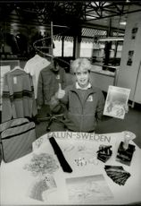 Various OS souvenirs for sale for the Winter Olympics in Falun 1992