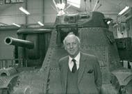 Viscount Montgomery photographed with his father's tank in the back ground
