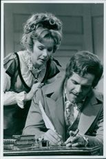 Susan Hampshire and Dyson Lovell stars in BBC-2 serial, Vanity Fair. 1968.