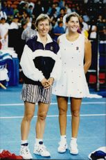 Martina Navratilova and Monica Seles during a tournament in the United States.