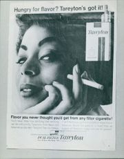 Poster for a cigarette advertisement Tareyton.  Taken - 13 Feb. 1964