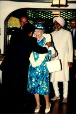 Portrait image of Queen Elizabeth II taken in conjunction with a visit to a Christian Center in Cochin.