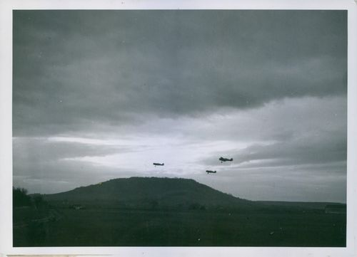 View of airplanes flying in the sky. 1940