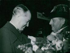Maurice Auguste Chevalier on a honor giving show.