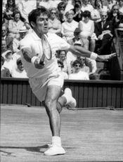 Ken Rosewall was in action during the match against Roche in Wimbledon in 1970