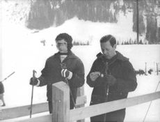 Princess Alexandra, The Honourable Lady Ogilvy on ice going to skiing, 1962.