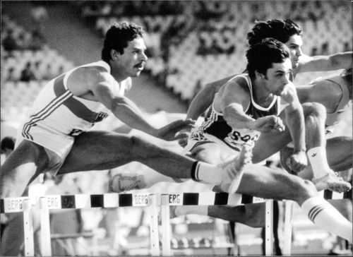 Jurgen Hingsen competing in the 110 metres hurdles event of the decathlon at the European Championships in Athens in December 1982.