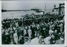 Danish Company in Helsingborg Soldiers gathered together at a place crowd of people are there.1960