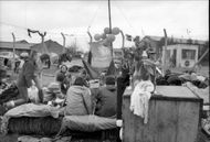 Peace demonstrators camp near the Air Force station on Greenham Common