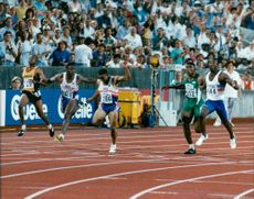Friidrotts World Cup in Stuttgart. 100 m final men. Linford Christie's winner