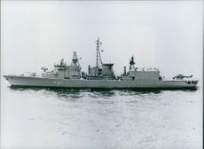 The West German Navy's Frigate 'Breman' taken into service, 1982.