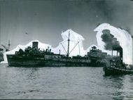 A huge ship in the sea in Sweden during the WWI, 1946.