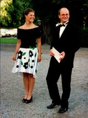 The royal dinner at Drottningholm Castle. Crown Princess Victoria arrives together with Thomas Sommerlath.