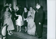 Princess Margherita her family standing and communicating. 1962