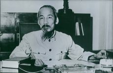 Former President of Vietnam Ho Chi Minh have sitting in his office