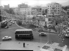 View of the city with decoration on it's mini park.  - Oct 1967
