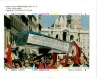 Italy Demonstrations: Striking workers.