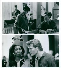 Still of Demi Moore, Tony Goldwyn, Whoopi Goldberg and Patrick Swayze from the film, Ghost. 1990.