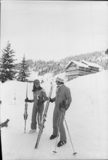 King Carl Gustaf together with his wife, Queen Silvia during the couple's skiing holiday in the Alps