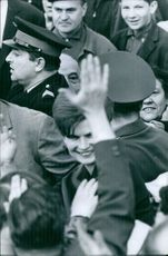 1965  A photo of a Russian former cosmonaut and the first woman to have flown in space, having been selected from more than four hundred applicants and five finalists to pilot Vostok 6 on 16 June 1963 Valentina Vladimirovna Tereshkova standing in the crow