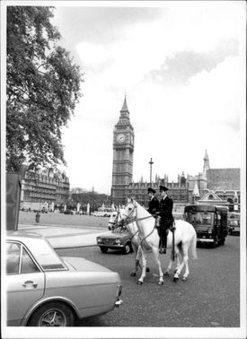 Policemen on the back of the back at Big Ben