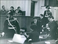 A group of people inside the supreme court.1961