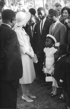 Princess Anne talking to the African people.