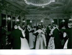 People dancing and enjoying during a party in Sigmaringen wedding, 1961.