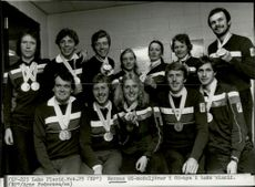 Norway's Olympic medalists in the Olympic village during the 1980 Winter Olympics