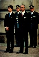 Prince Carl Philip together with King Carl Gustaf at the Prince's 18th birthday