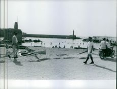 1960 People at the beach in Cyprus.