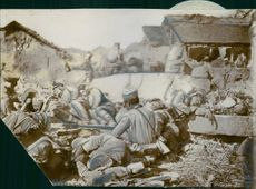 Japanesesoldiers resting on the last day of the Battle of Mukde, 1905.