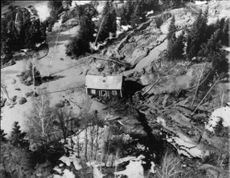 Aerial photo of the scene of the accident with property in Norsälven when refused