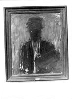 "A black and white photograph on a painting by Carl Kylberg ""In yellow turban"". It was stolen from the main library in Solna."