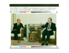 Hafez al-Assad with Warren M Christopher.