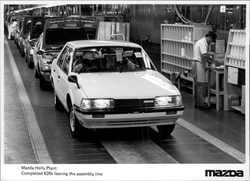 Mazda 626 on the production line.