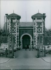 A view of the entrance of Wormwood Scrubs Prison. 1972.