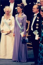 Crown Princess Victoria, Princess Lilian and King Carl Gustaf at the Nobel Prize Ceremony