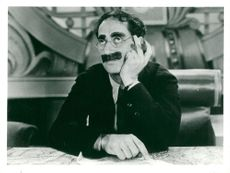 Groucho Marx during a movie recording