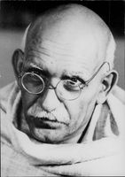The movie about Gandhi by Richard Attenborough. Black and white portrait photography on actor Ben Kingsley in the role of Gandhi.