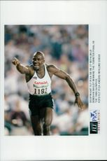 Donovan Bailey wins the 100-meter finals in the Atlanta OS