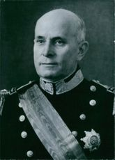A portrait of Admiral Americo Rodrigues Tomas  President of Portugal. He was Inagurated August 9th 1958.