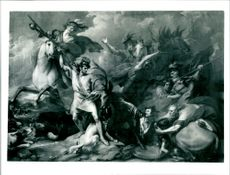 'The Death of the Stag' painting by Benjamin West, created in 1786