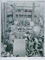 TROOPS DOZE AND SUNBATHE AMID RAFTS AND CLOTHESLINES ON CROWDED DECK 1942