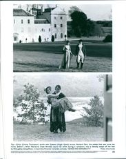 Top: Emma Thompson strolls with Hugh Grant across Norland Park. Bottom: Kate Winslet injures her ankle during a rainstorm, she is literally swept off her feet by Greg Wise, in Columbia Pictures' romantic comedy, Sense and sensibility.